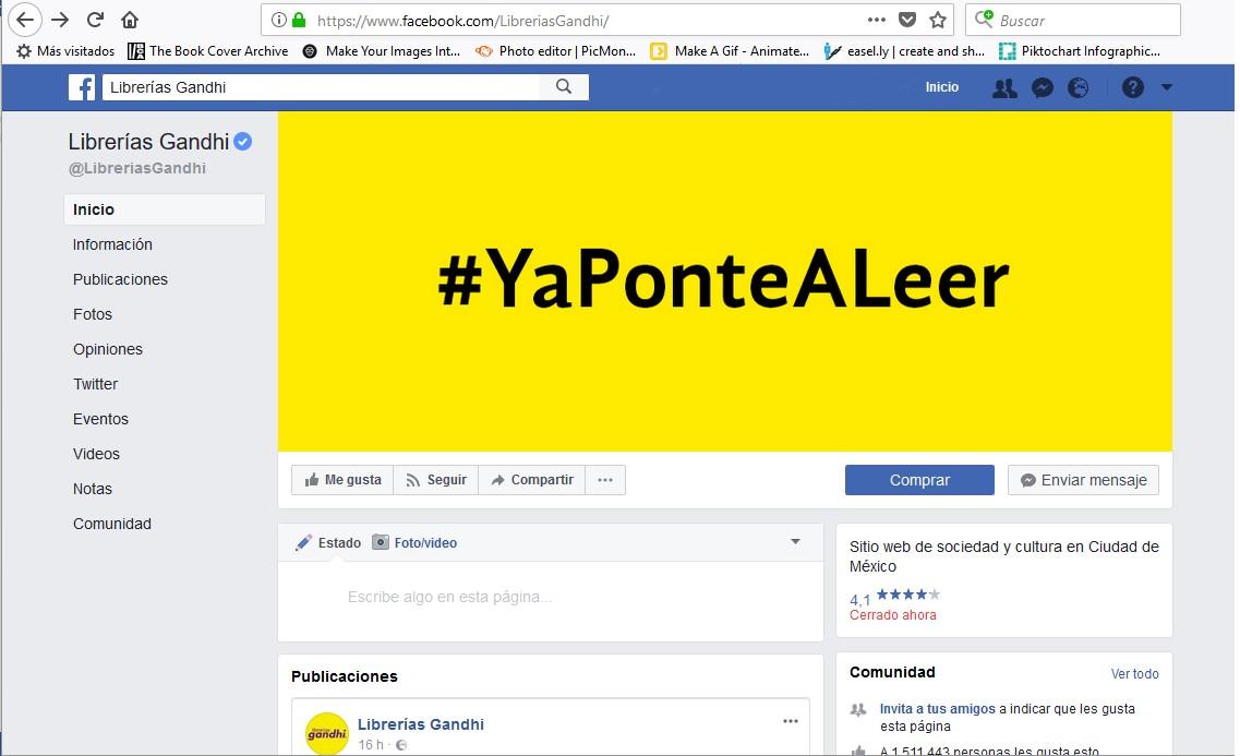 Página de Facebook de la librería mexicana Gandhi.