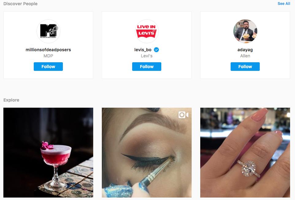 instagram explore on desktop