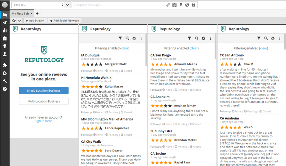 Reputology aggregates brand reviews in real-time