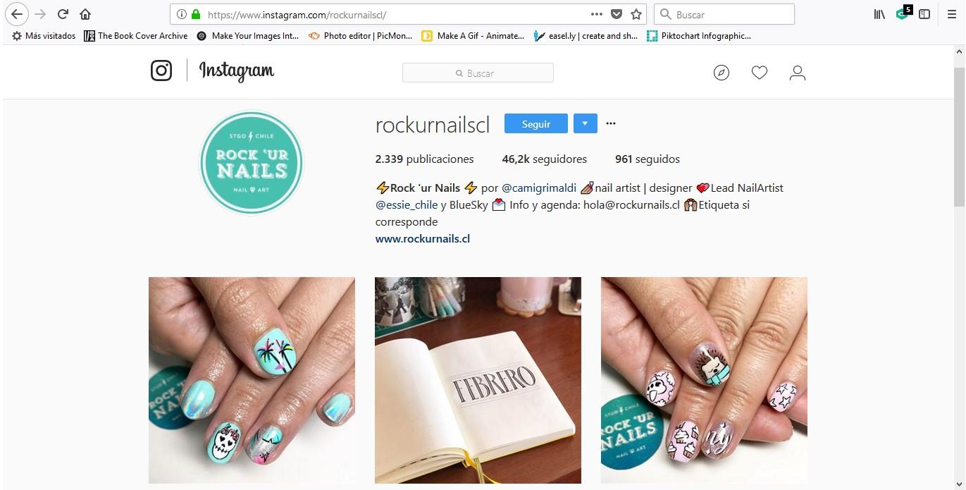 Cuenta Instagram de la marca Rockurnails.