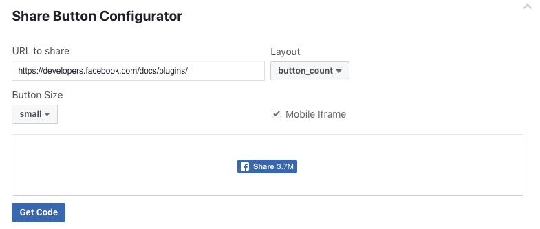share button configurator on facebook