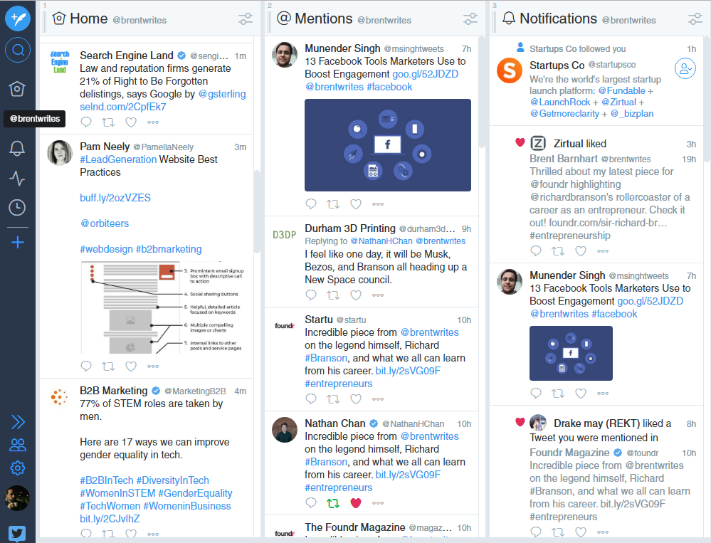 Tweetdeck offers a simple and clean look at your Twitter activity