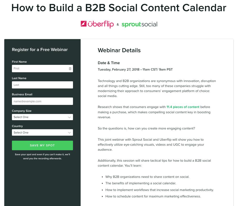 b2b content calendar webinar