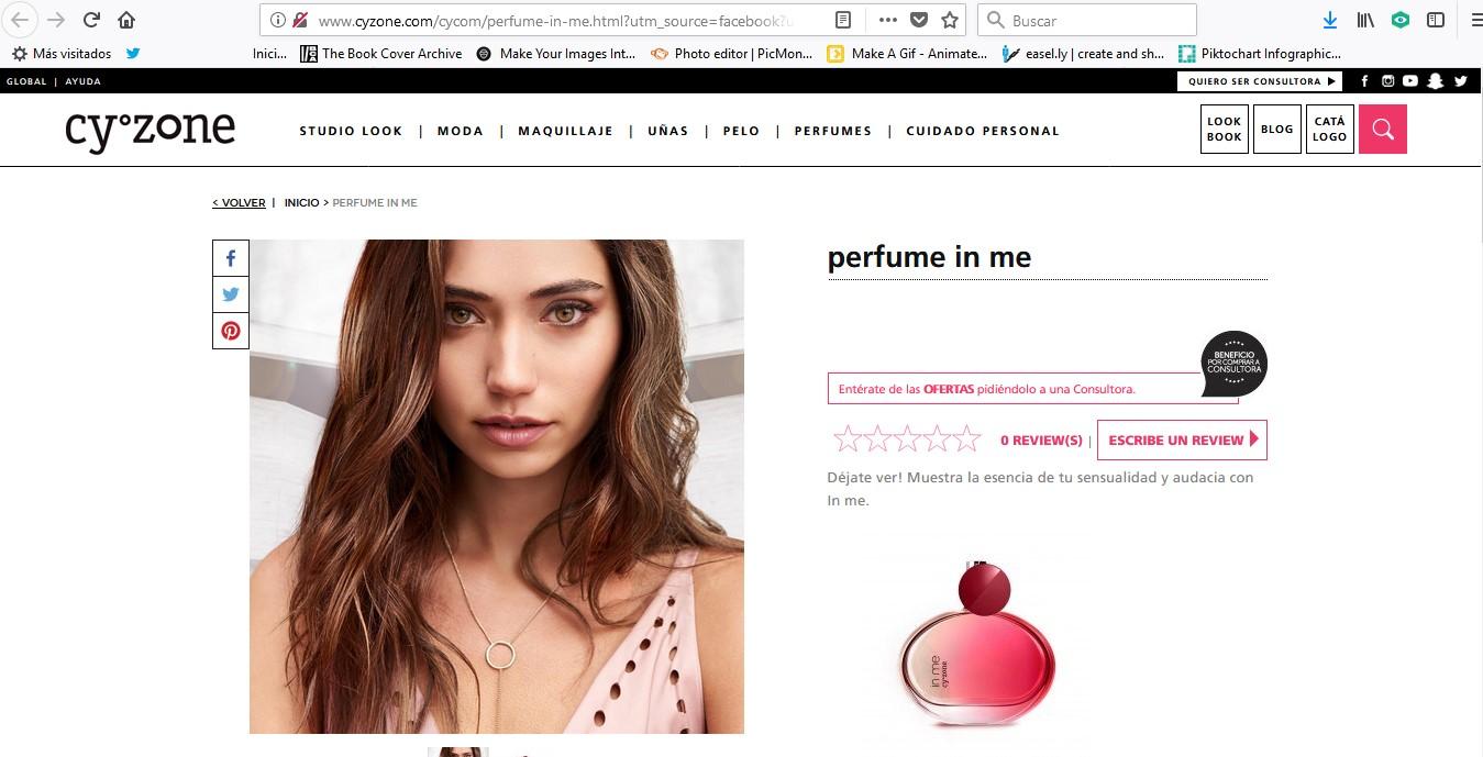 Página web de la marca de cosméticos Cyzone.