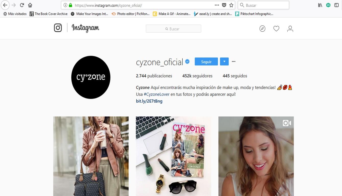 Cuenta Instagram de Cyzone.