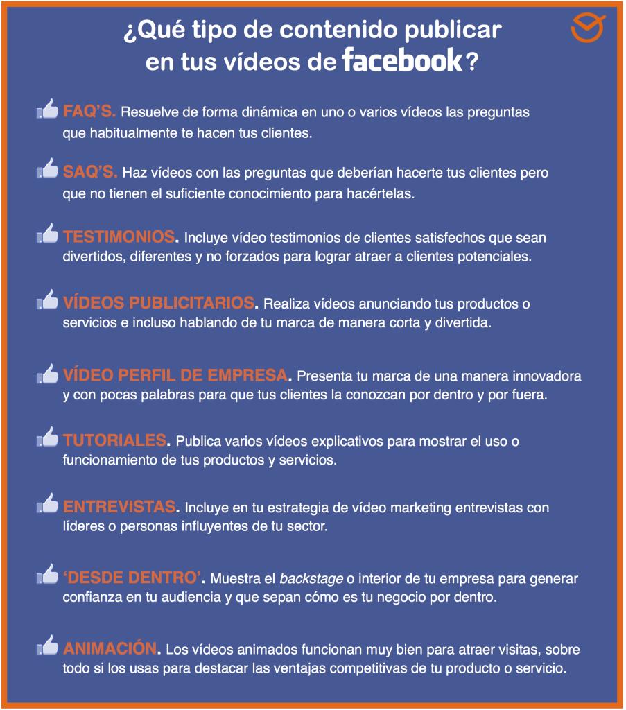 Infografía sobre contenidos en videos de Facebook.