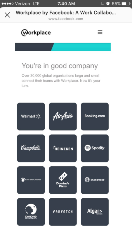 workplace by facebook landing page