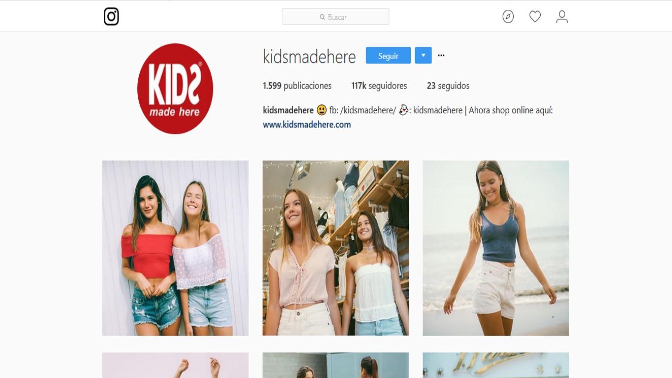 """Cuenta en Instagram de la marca """"Kids made here""""."""