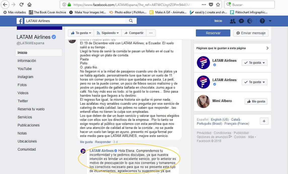 Perfil de Facebook de Latam.