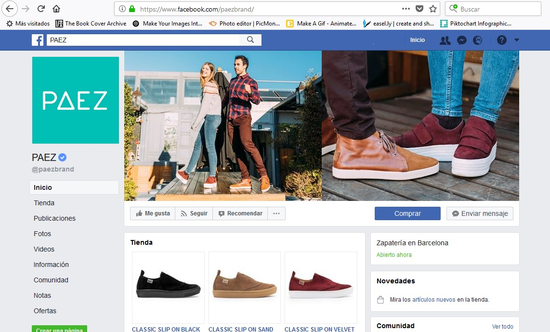 Perfil en Facebook de la marca Paez.