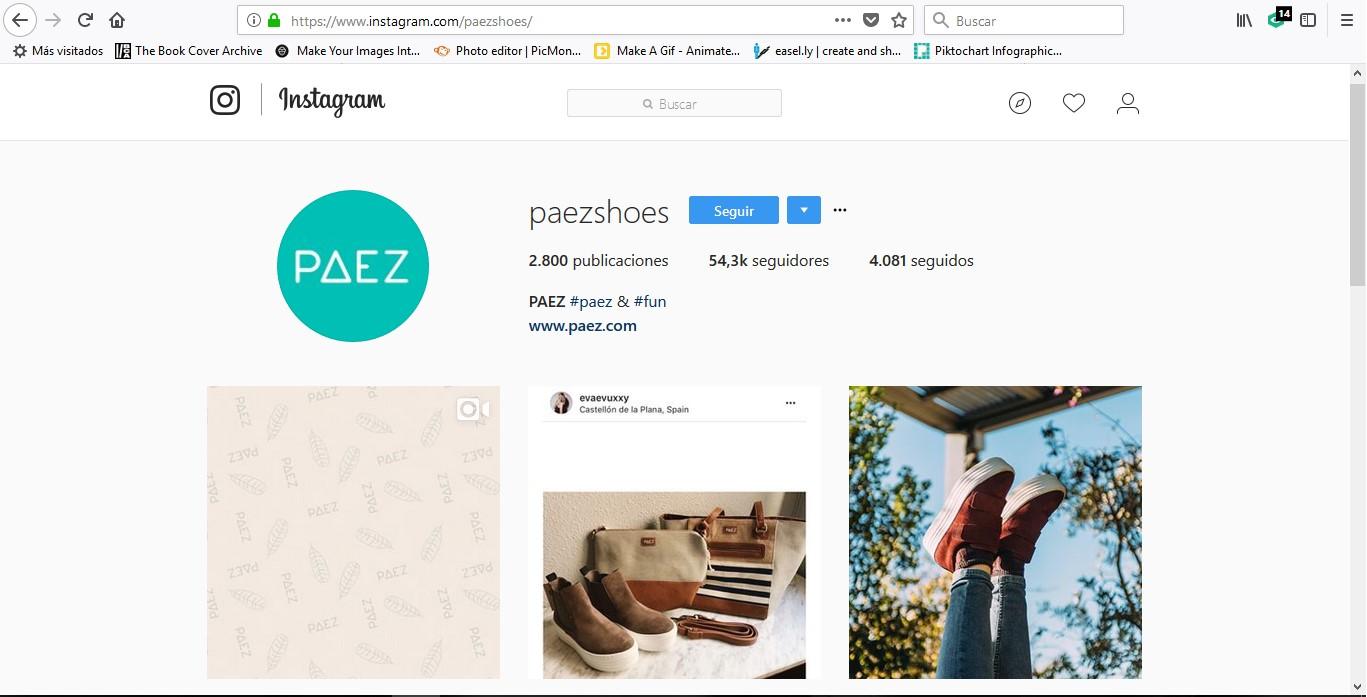 Cuenta en Instagram de la marca Paez.