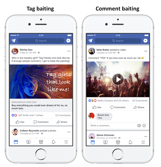 tag baiting and comment baiting facebook