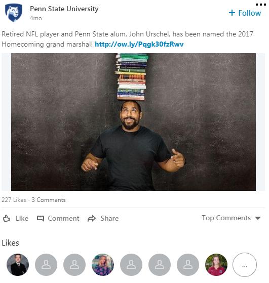 Penn State LinkedIn post