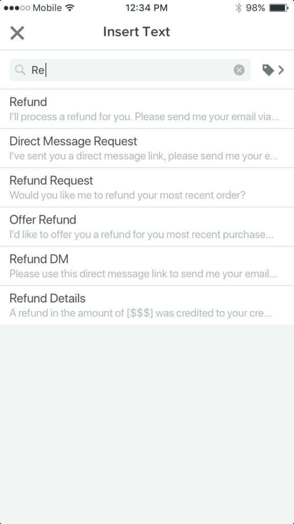 Saved Replies - Insert Reply
