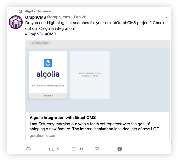 algolia brand retweet