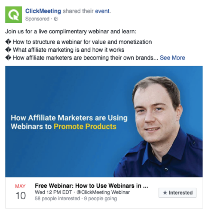 clickmeeting facebook ad example