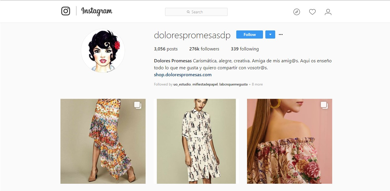Perfil en Instagram de la marca Dolores Promesas.