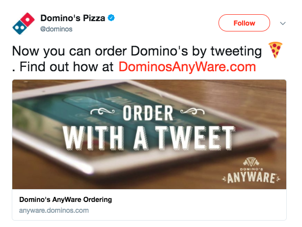 dominos chatbot tweet
