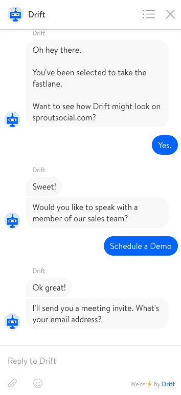drift chatbot example