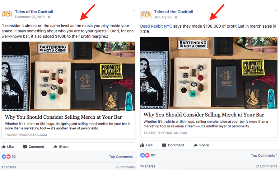 use different facebook copy on posts