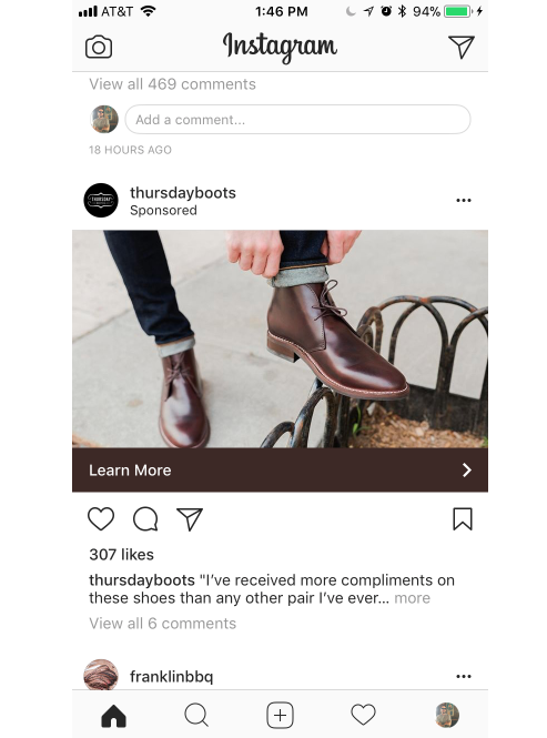 thursday boots instagram ad