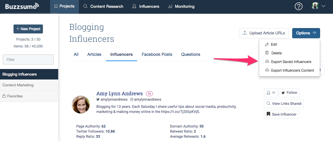 Buzzsumo Export Influencers List