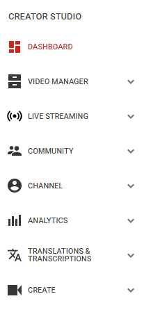 "Access your YouTube analytics through the ""Creative Studio"" drop-down in your YouTube account."