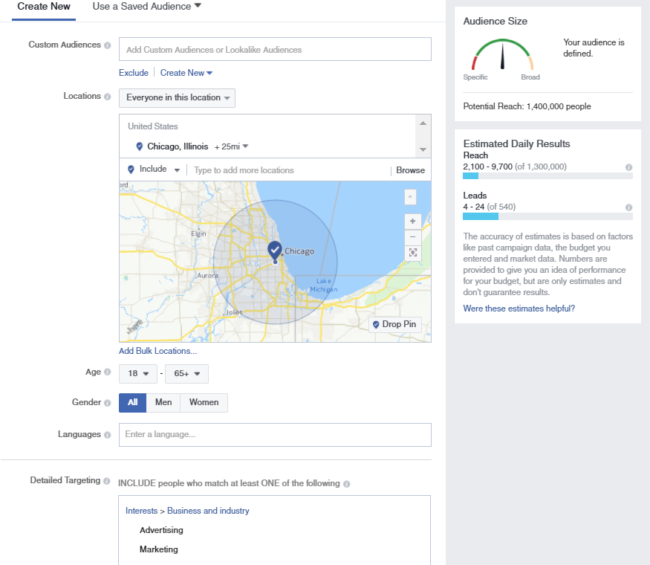 Facebook recruiting allows you to target candidates in a specific location
