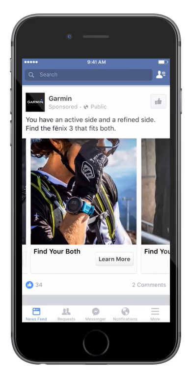 Garmin's Facebook campaign found success using carousel ads