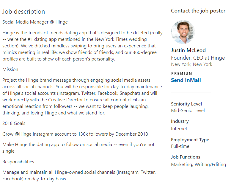 Job descriptions for social media managers must be incredibly detailed