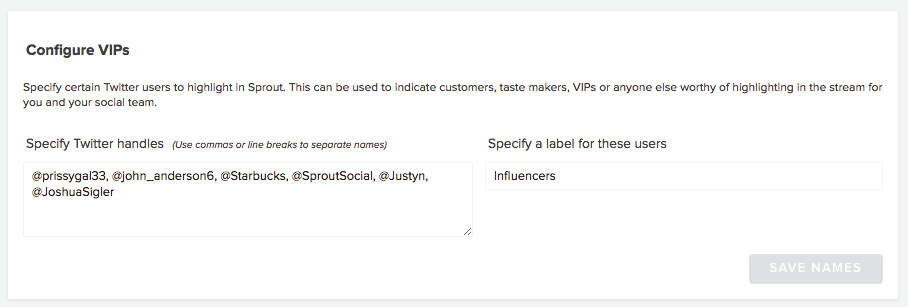 Sprout Social VIPs list