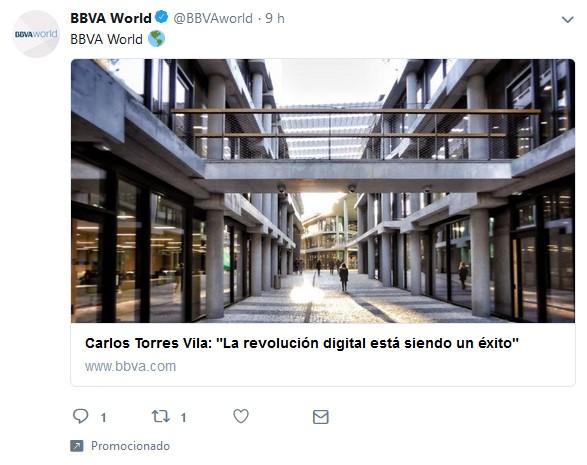 Anuncio en Twitter de BBVA.