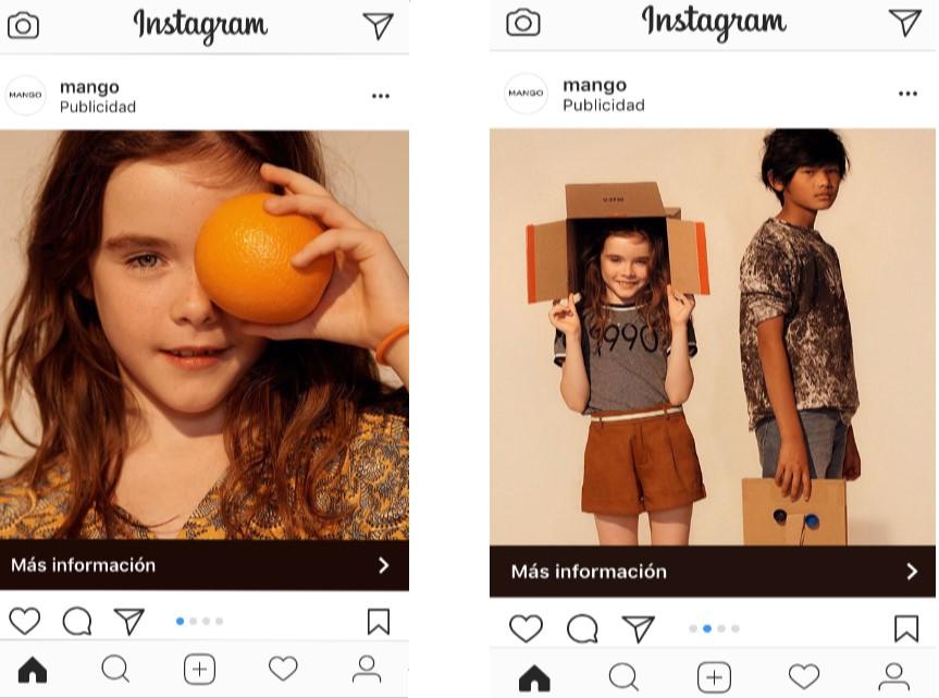 Anuncio de Mango en Instagram
