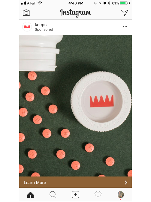 keeps instagram image vertical ad