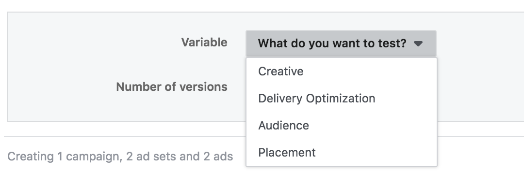 Facebook's split test feature in action, allowing users to pick between variables in their ads to test