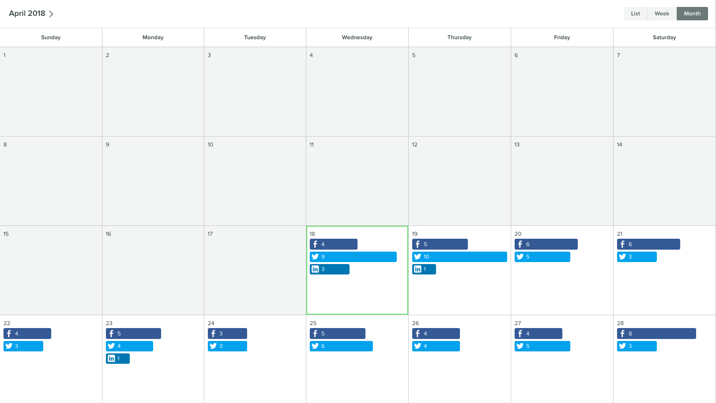 sprout social monthly calendar view