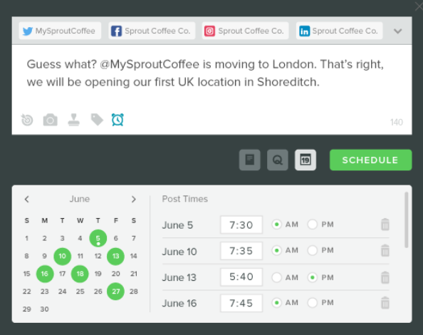 The Sprout Social scheduling feature
