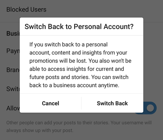 switch back to personal account notification