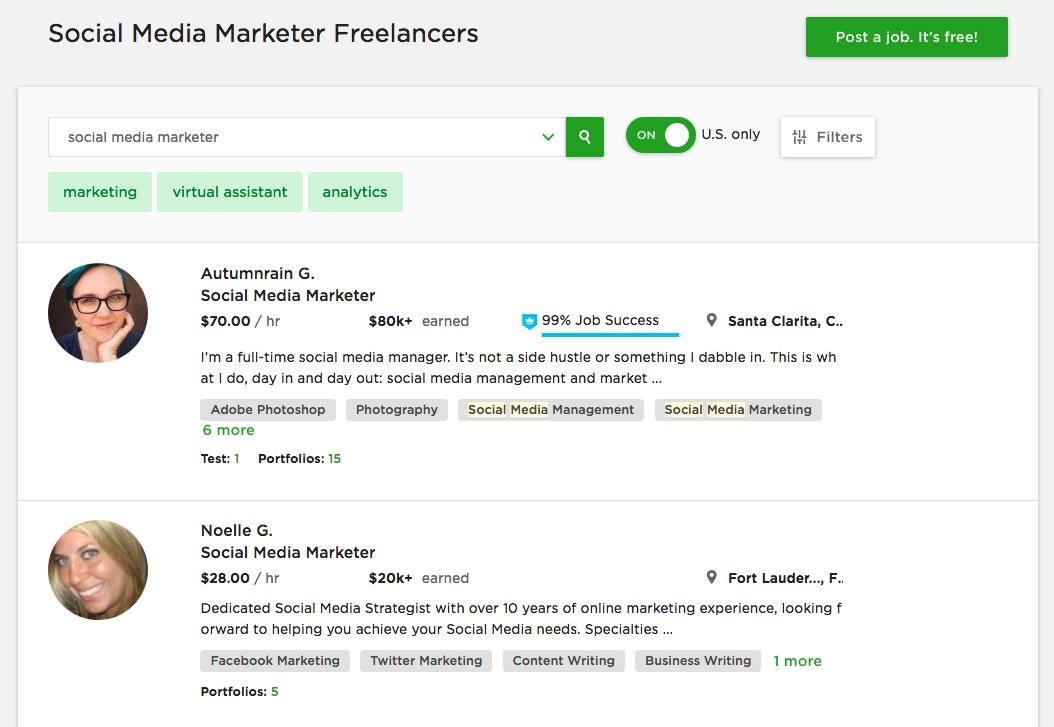 upwork social media freelancers