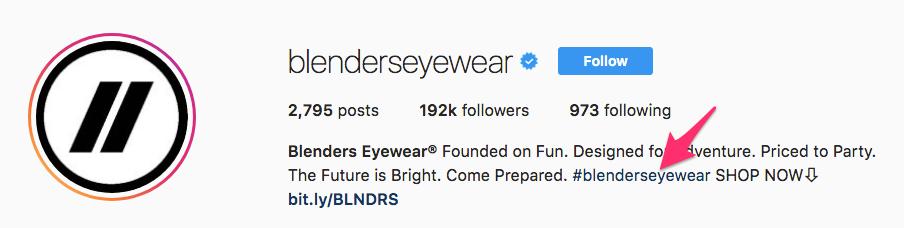 Blenders Eyewear Instagram profile