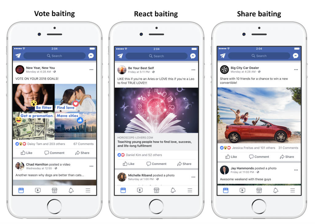 Facebook now actively discourages posts which basically beg for engagement