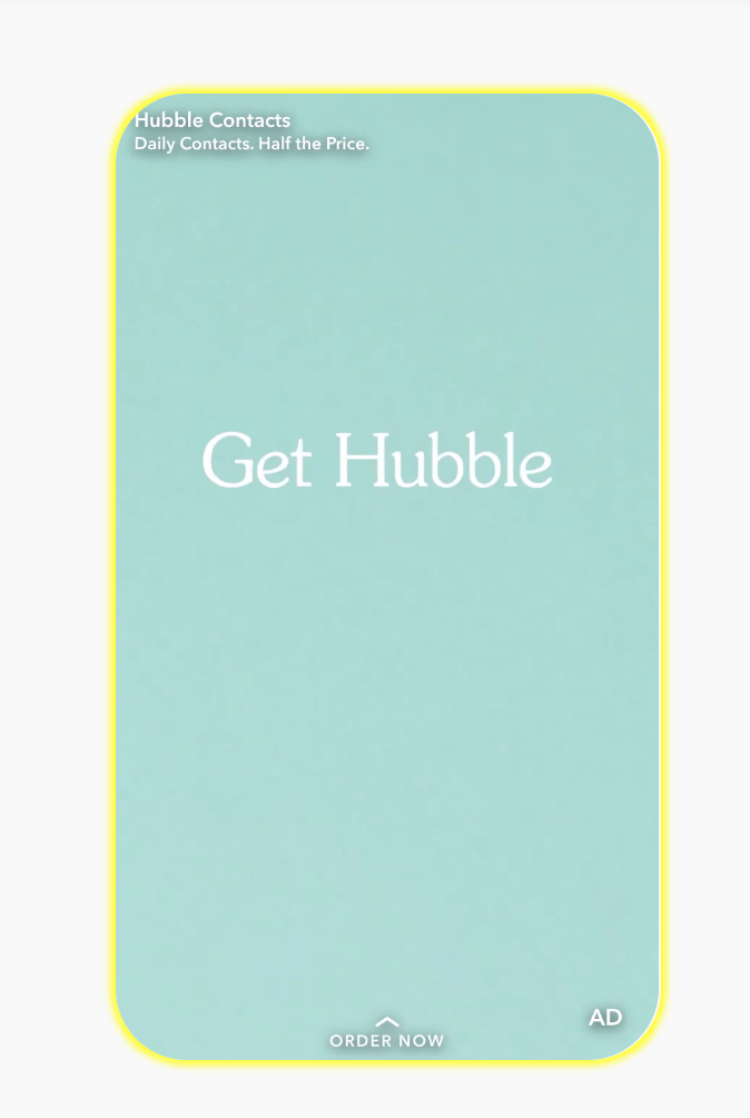 Hubble Snapchat Ad example