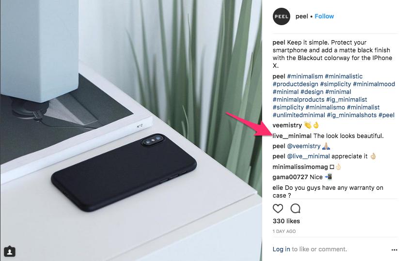 Peel Instagram Comment