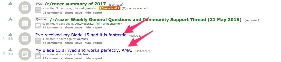 Razer Reddit posts
