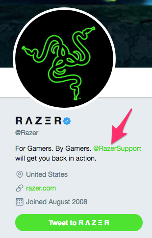 Razer Twitter Profile