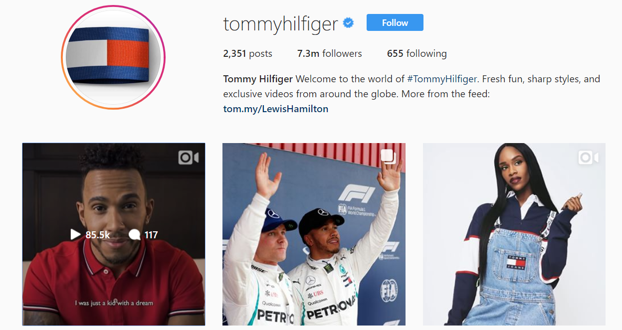 Tommy Hilfiger regularly updates their bio link based on which promotions they're running