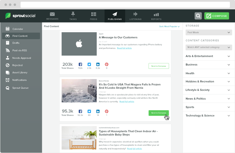 If you're struggling for content ideas, consider how Sprout can make suggestions for you