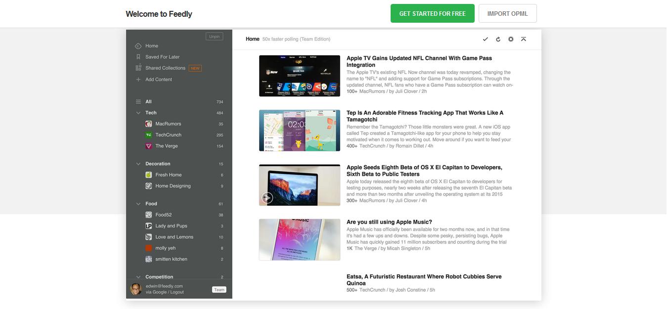 Página web de Feedly.
