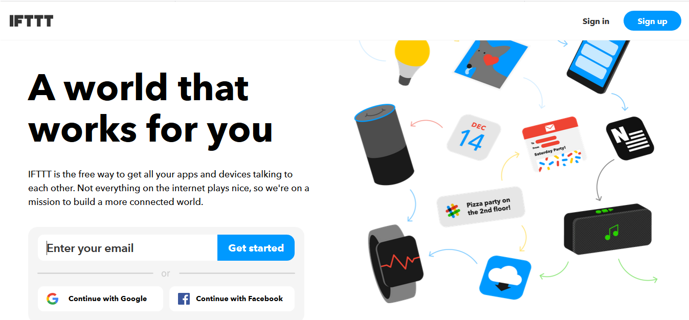 Página web de IFTTT.