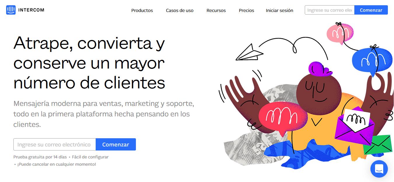 Página web de Intercom.